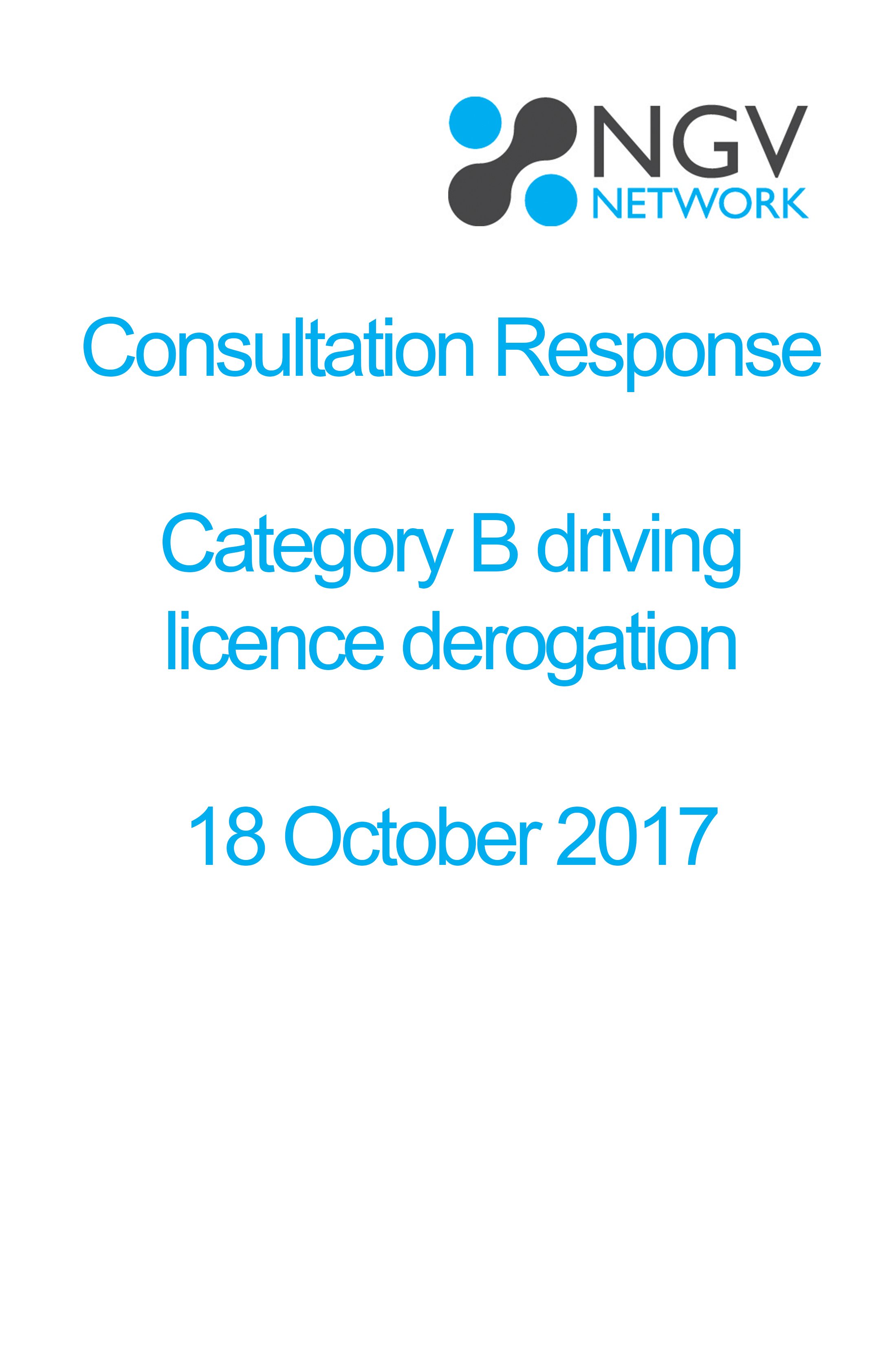 Consultation Response  Category B driving  licence derogation